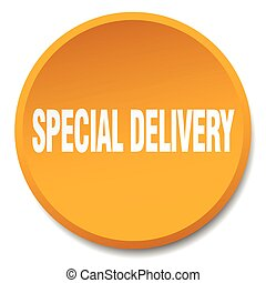 special delivery orange round flat isolated push button