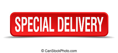 Special delivery red 3d square button isolated on white