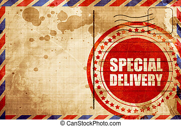 special delivery, red grunge stamp on an airmail background