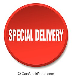 special delivery red round flat isolated push button