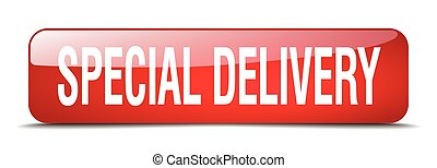 special delivery red square 3d realistic isolated web button