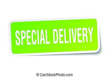special delivery square sticker on white