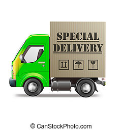 special delivery truck shipping cardboard box with urgent package from online internet web shop