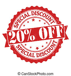 Special discount 20% off grunge rubber stamp on white, vector illustration