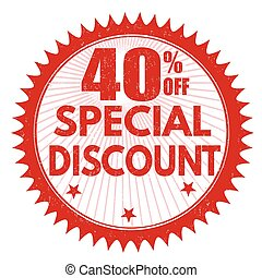 Special discount 40% off stamp