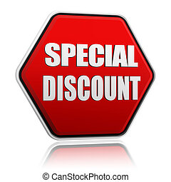 text special discount in 3d red hexagon banner like button, business concept