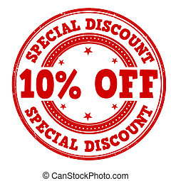 Special discount 10% off grunge rubber stamp on white, vector illustration