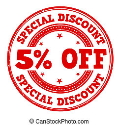 Special discount 5% off grunge rubber stamp on white, vector illustration