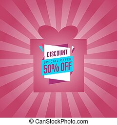 Special discount sticker on box silhouette