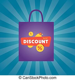 Special discount sticker on package silhouette