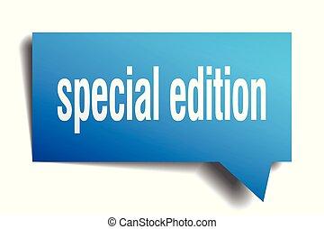 special edition blue 3d speech bubble