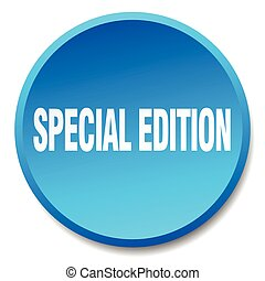 special edition blue round flat isolated push button