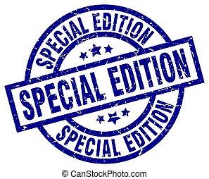 special edition blue round grunge stamp