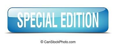 special edition blue square 3d realistic isolated web button