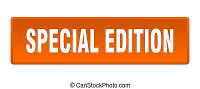 special edition button. special edition square orange push button