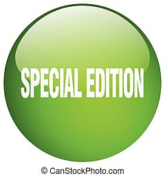 special edition green round gel isolated push button
