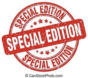 special edition red grunge round vintage rubber stamp