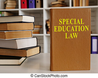 Special education law and stack of other documents.