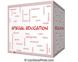 Special Education Word Cloud Concept on a 3D cube Whiteboard