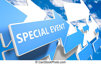 Special Event 3d render concept with blue and white arrows flying in a blue sky with clouds