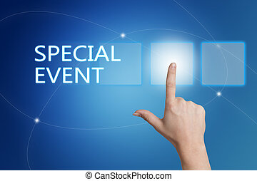 Special Event - hand pressing button on interface with blue background.