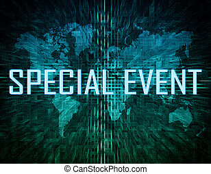 Special Event text concept on green digital world map...