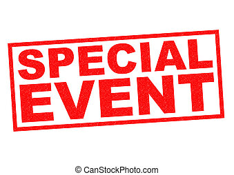 SPECIAL EVENT red Rubber Stamp over a white background.