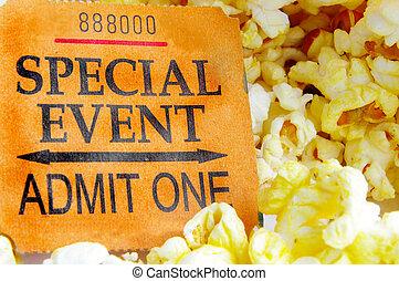 "\""special, event\"", talon ticket, et, pop-corn, closeup"