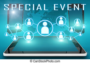 Special Event - text illustration with social icons and tablet computer and mobile cellphones on cyan digital world map background