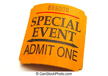 special event ticket closeup, isolated on white