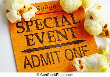 """special event"" ticket stub and popcorn closeup"