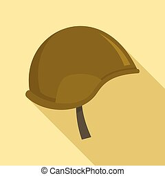 Special force helmet icon, flat style