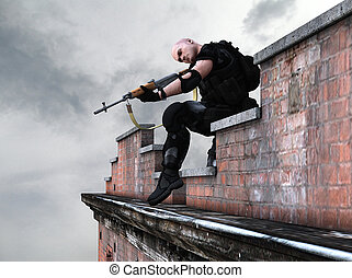 Special forces army sniper - a sniper sitting on top of a...