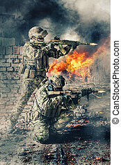 special forces in action - Pair of special forces shooting a...
