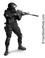 Special forces - Armed man in protactive cask with M4 rifle...