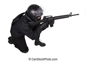 special forces sodier in black uniform