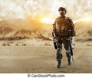 Special forces soldier in the desert.
