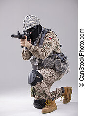 Special forces - Soldier special forces with machine gun in...