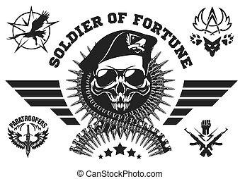 Special forces vector emblem with skull, ammunition and wings.