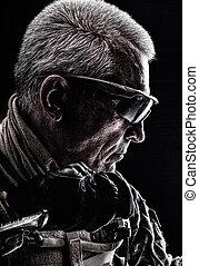 Special Forces Veteran - Close up studio shot of special...