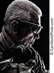 Special Forces Veteran - Close up studio shot of special...