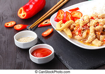 Special fried rice a popular oriental dish available at...