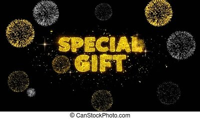Special Gift Text Reveal on Glitter Golden Particles Firework. Sale, Discount Price, Off Deals, Offer promotion offer percent discount ads 4K Loop Animation.