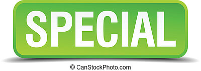Special green 3d realistic square isolated button