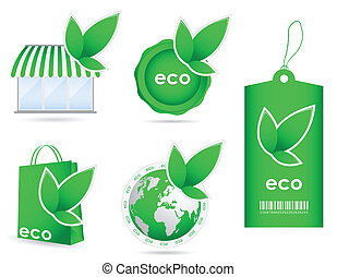 special green eco friendly template icon collection