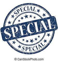 Special grunge blue round stamp