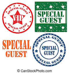 Special Guest-stamps - Set of grunge rubber stamp with text ...