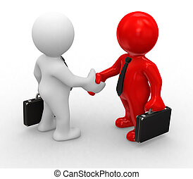 Special handshake - 3d bussines white and red humans make a ...