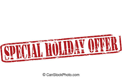 Rubber stamp with text special holiday offer inside, vector illustration