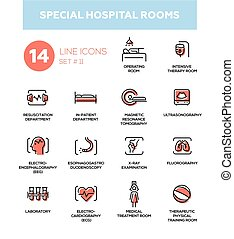 Special hospital rooms- set of vector pictograms. Operating, intensive therapy, medical treatment, training, resuscitation, in-patient, MRT, sonogram, ECG, EEG, EGD, x-ray, fluorography, laboratory